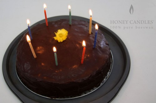 Birthday cake with beeswax candles