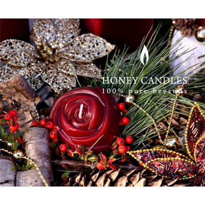 Honey Candle Burgundy Rose2